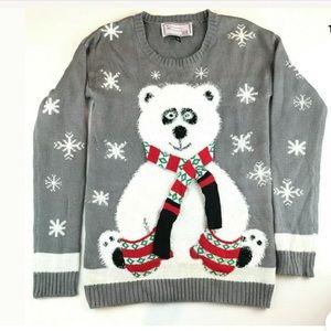 Ugly Christmas Sweater Party Medium Polar bear EUC